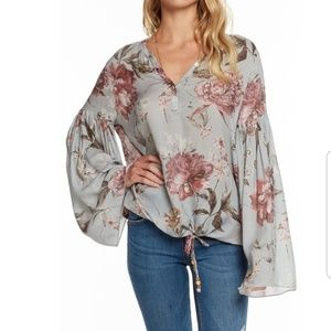 Chaser NWT Floral Bell Sleeve Drawstring Top